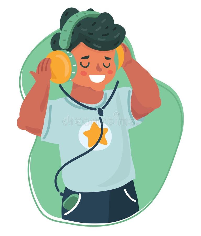 Het glimlachen van jongensjong geitje die aan muziek luisteren stock illustratie