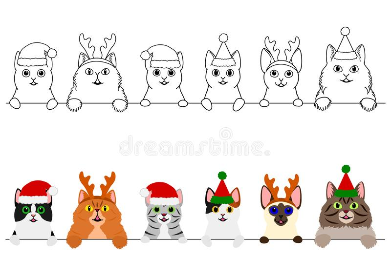Het glimlachen van katten met de grensreeks van Kerstmiskostuums stock illustratie