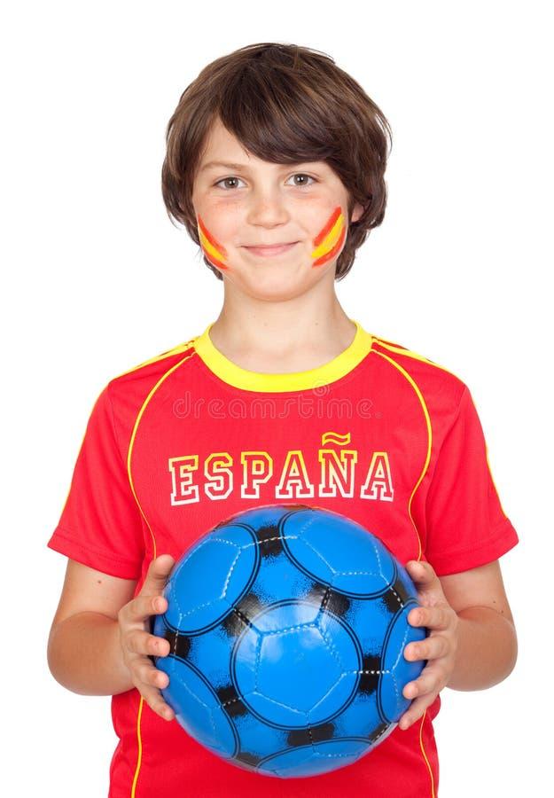 Het glimlachen van kindventilator van het Spaanse team stock afbeelding