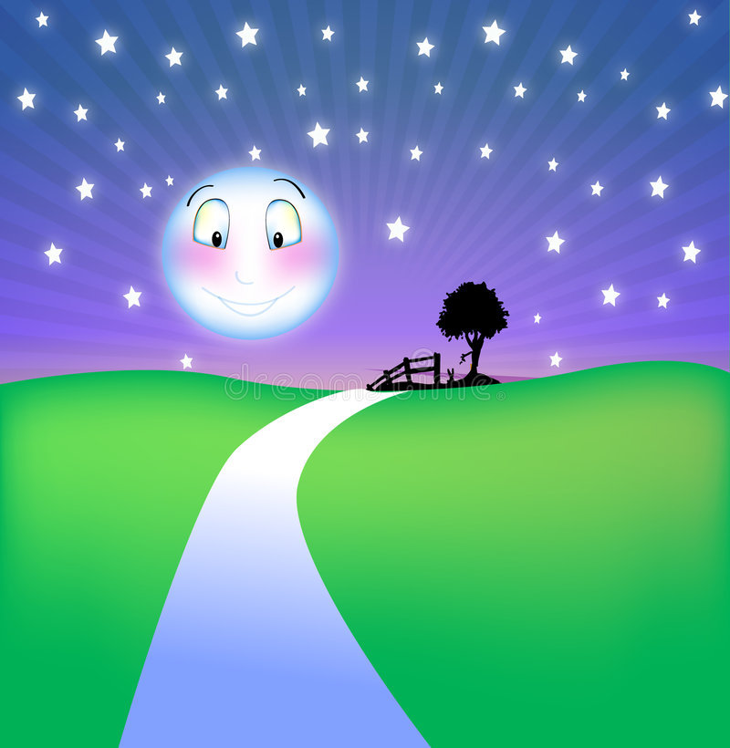 Het glimlachen van maan bij nacht vector illustratie