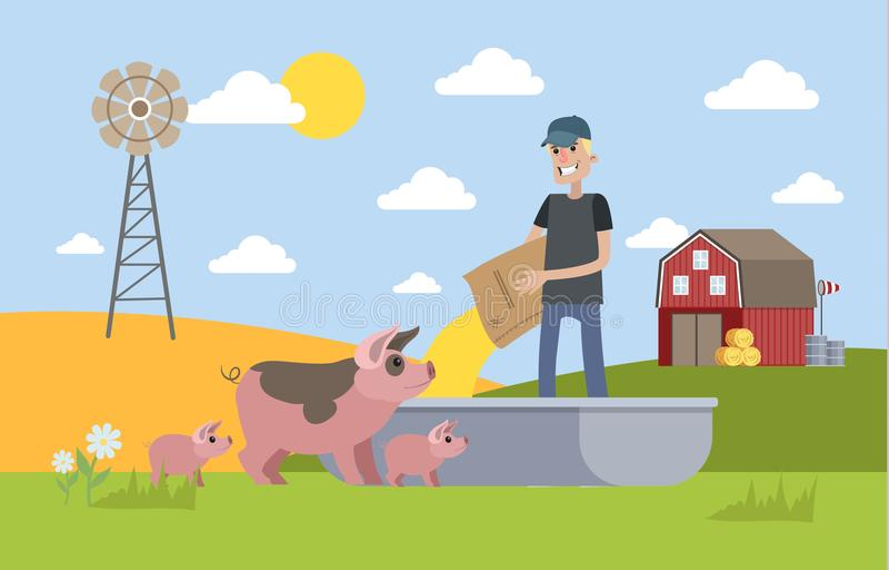 Het glimlachen van mannelijk landbouwers voedend varken op het landbouwbedrijf stock illustratie