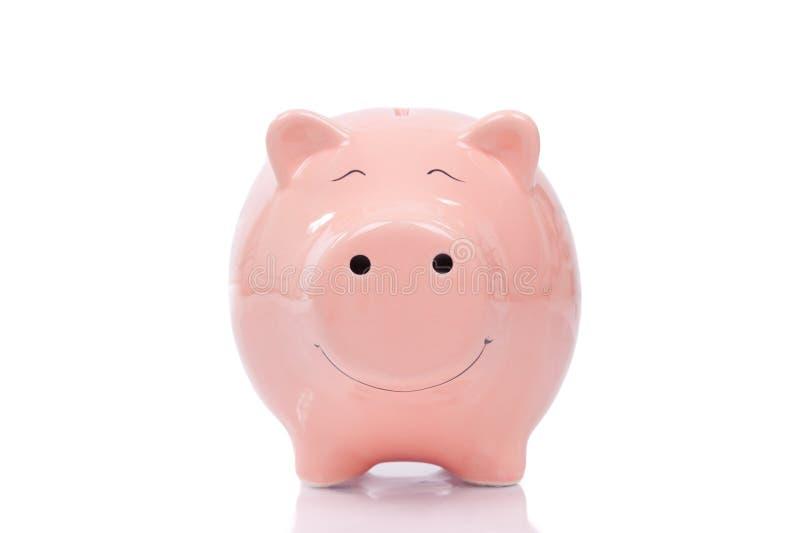 Het glimlachen van Spaarvarken op witte achtergrond royalty-vrije stock fotografie