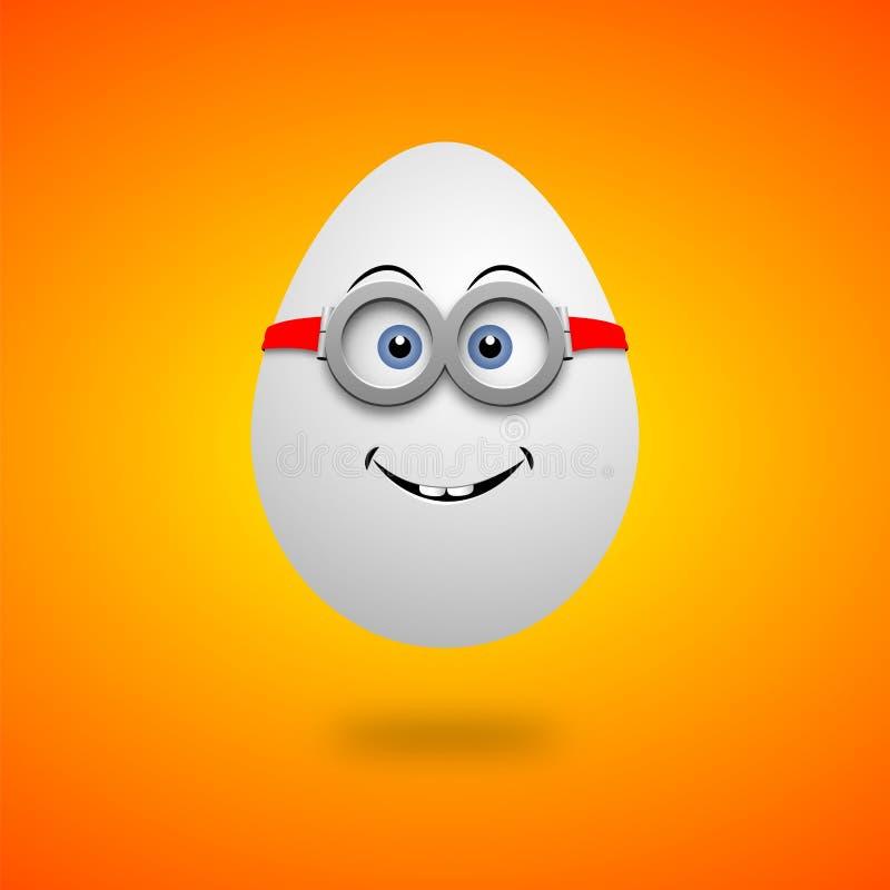 Het glimlachen van wit ei op oranje achtergrond vector illustratie
