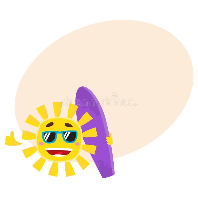Het glimlachen van zon die zonnebril dragen en het houden van brandingsraad, vectorillustratie vector illustratie