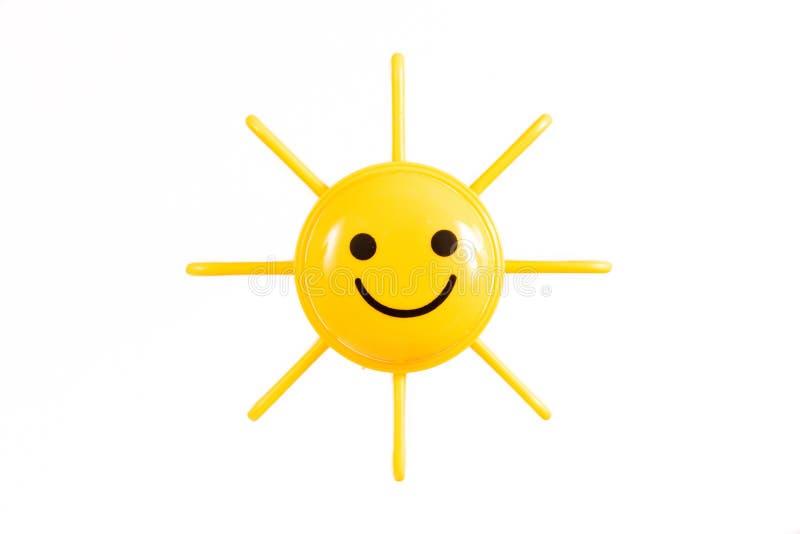 Het glimlachen van Zon op een Witte Backgroud stock fotografie