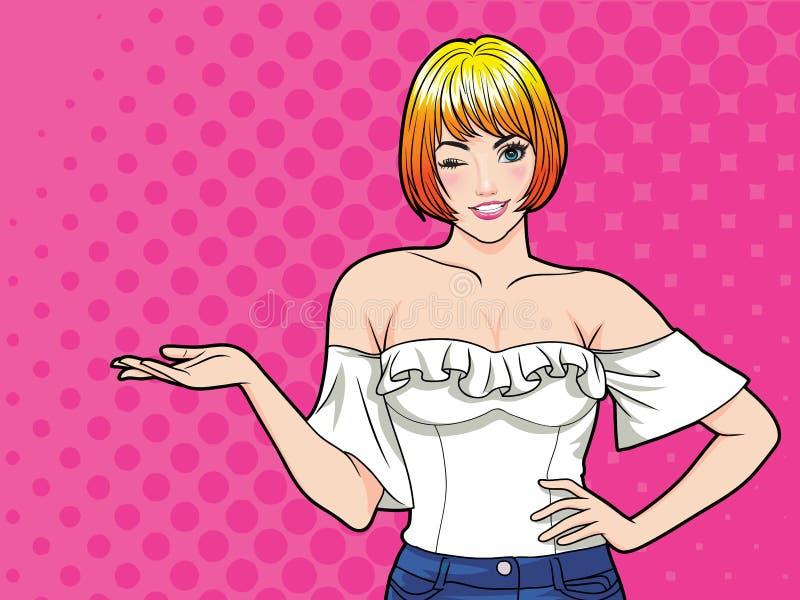 Het glimlachen vrouwengebaar die iets met de stijl punt van de achtergrondpop-artstrippagina voorstellen vector illustratie