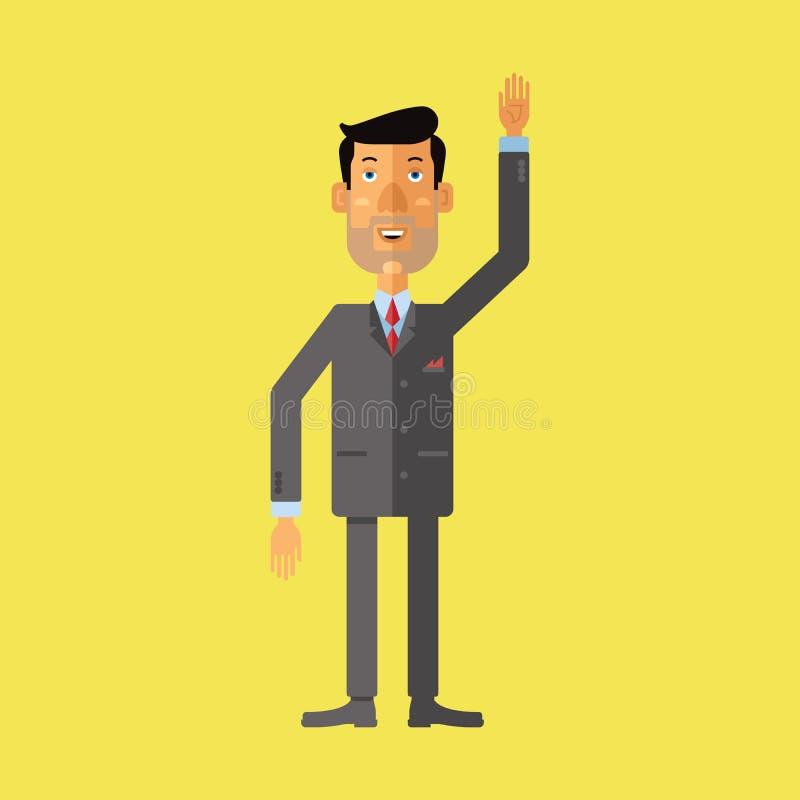 Het glimlachen zakenmangroet iemand met zijn omhoog opgeheven hand stock illustratie