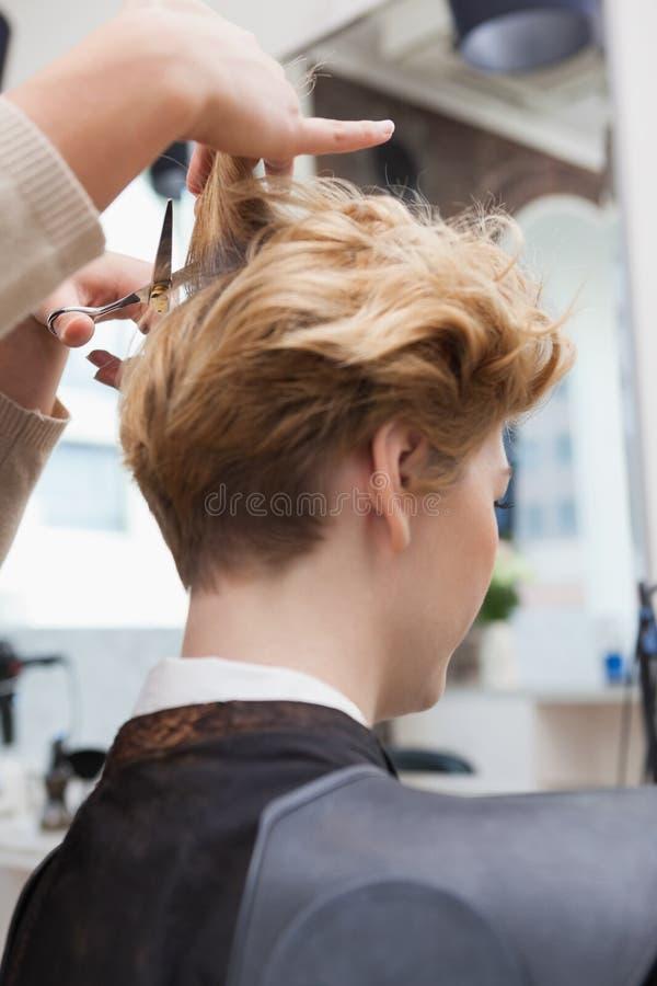Het glimlachende haar van kapper scherpe klanten royalty-vrije stock afbeeldingen