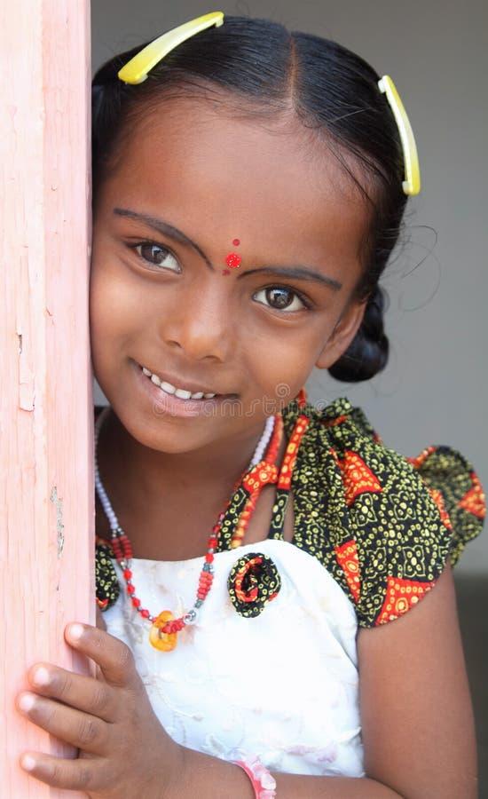 Het glimlachende Indische Meisje van het Dorp royalty-vrije stock foto