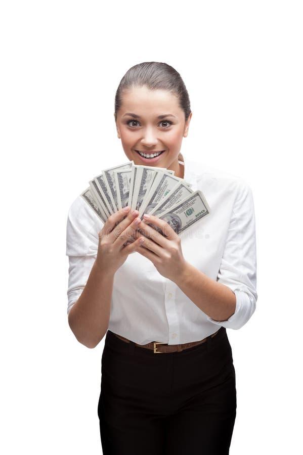 Het glimlachende jonge geld van de bedrijfsvrouwenholding stock afbeeldingen