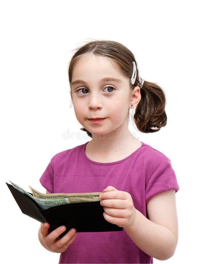 Het glimlachende meisje houdt een portefeuille royalty-vrije stock afbeeldingen