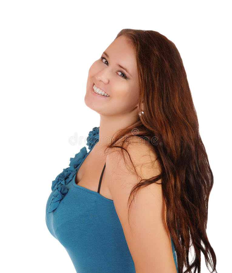 Het glimlachende meisje met de grote borst stock afbeelding