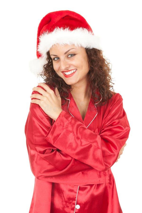 Het glimlachende meisje van de Kerstman royalty-vrije stock foto