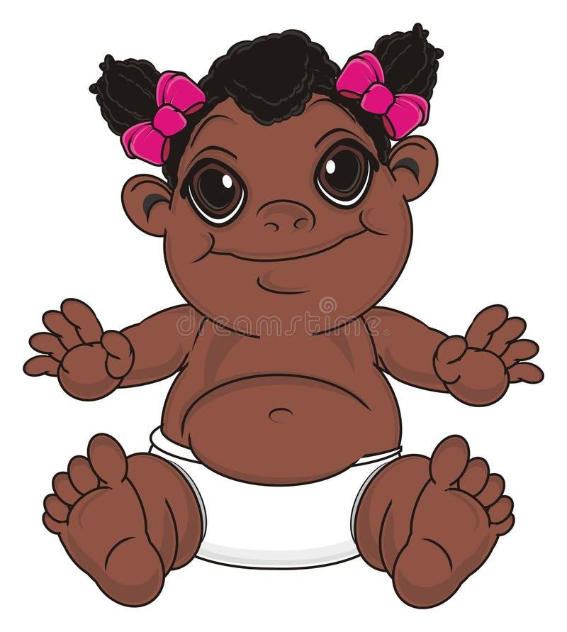 Het glimlachende meisje van de zwartebaby royalty-vrije illustratie