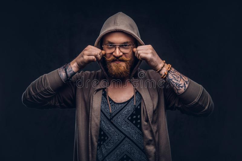 Het glimlachende roodharige hipster met volledige baard en glazen gekleed in hoodie en t-shirt stelt in een studio Geïsoleerd op  stock foto