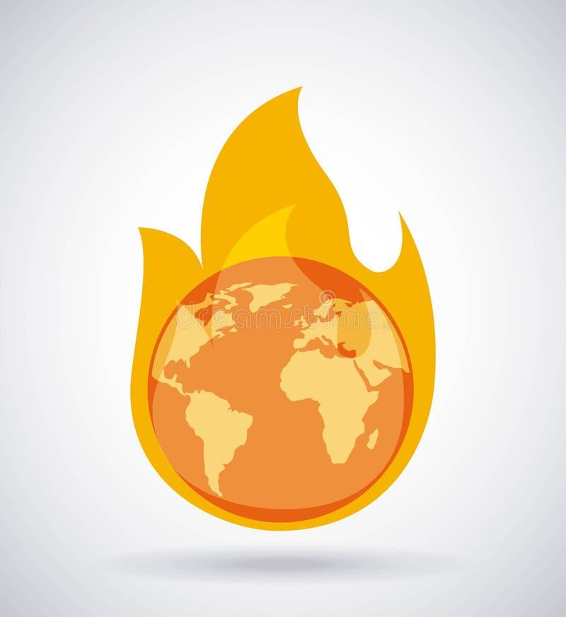 Het globale aarde het branden concept van de brandklimaatverandering royalty-vrije illustratie