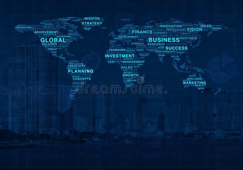 Het globale concept van de bedrijfshandels online wereld op stadstoren royalty-vrije illustratie