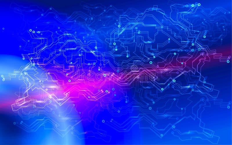 Het globale concept van de cyber futuristische financiële netwerkbeveiliging De snelle verbinding van snelheidsinternet Blokketen royalty-vrije stock afbeelding