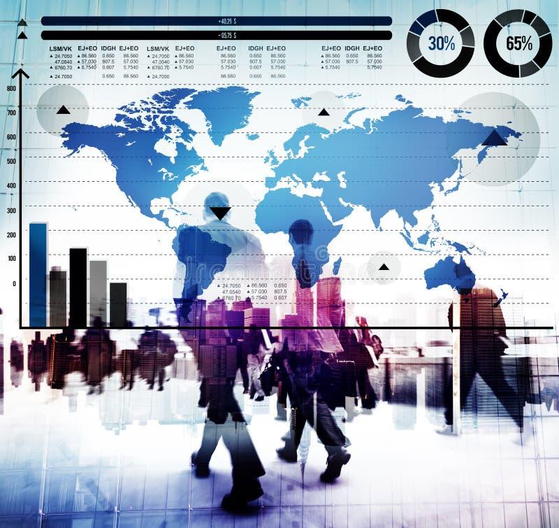 Het globale Concept van de de Wereldkaart van de Bedrijfsgrafiekgroei stock foto's