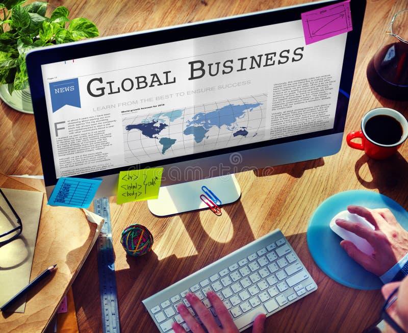 Het globale Concept van de het Voorzien van een netwerkgroei van de Bedrijfs de Uitvoerinvoer stock foto