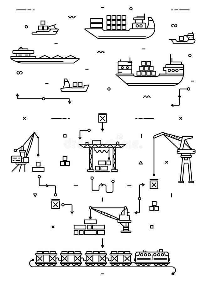 Het globale concept van de ladingslogistiek Overzeese levering met vrachtschepen, haven en vrachtkranen Spoorvervoer vlak vector illustratie