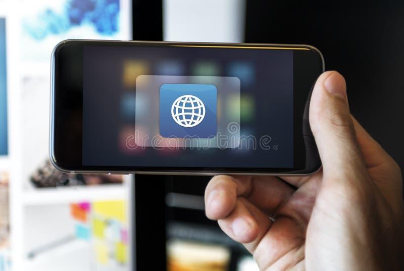 Het globale Concept van de Pictogram Digitale Toepassing stock foto's