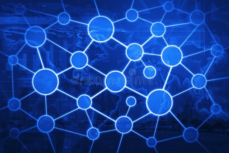 Het globale concept van het zakenrelatienetwerk op wereldkaart en stad royalty-vrije stock afbeelding
