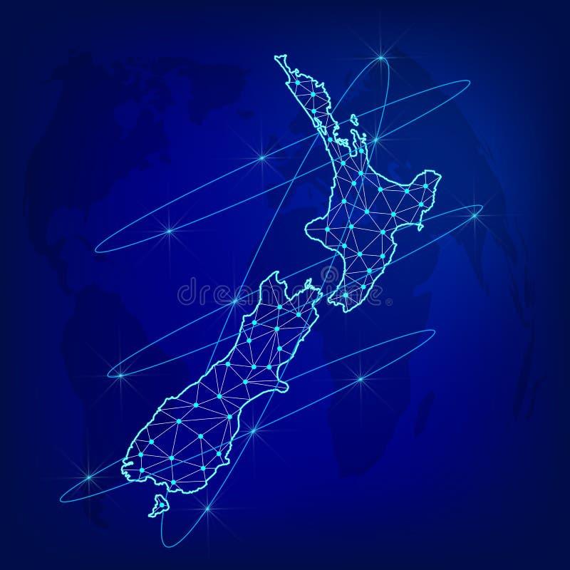 Het globale concept van het logistieknetwerk Communicatienetwerkkaart Nieuw Zeeland op de wereldachtergrond Kaart van Nieuw Zeela royalty-vrije illustratie