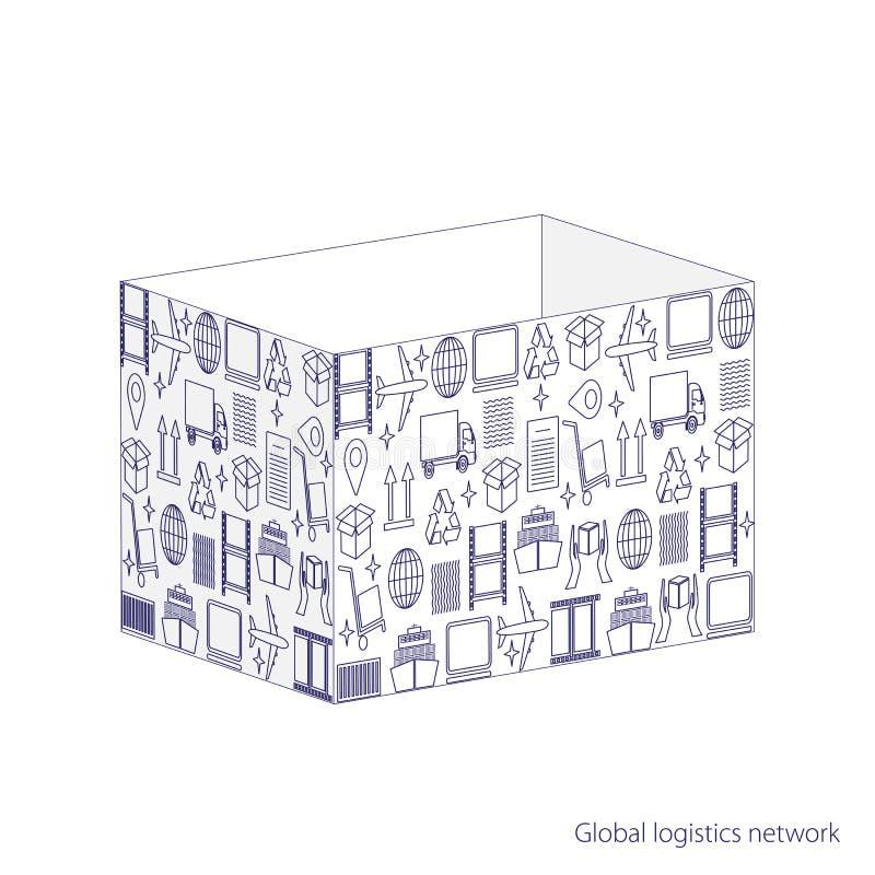 Het globale concept van het logistieknetwerk Geopende die pakketdoos van logistische pictogrammen wordt gemaakt Reeks dunne picto stock illustratie