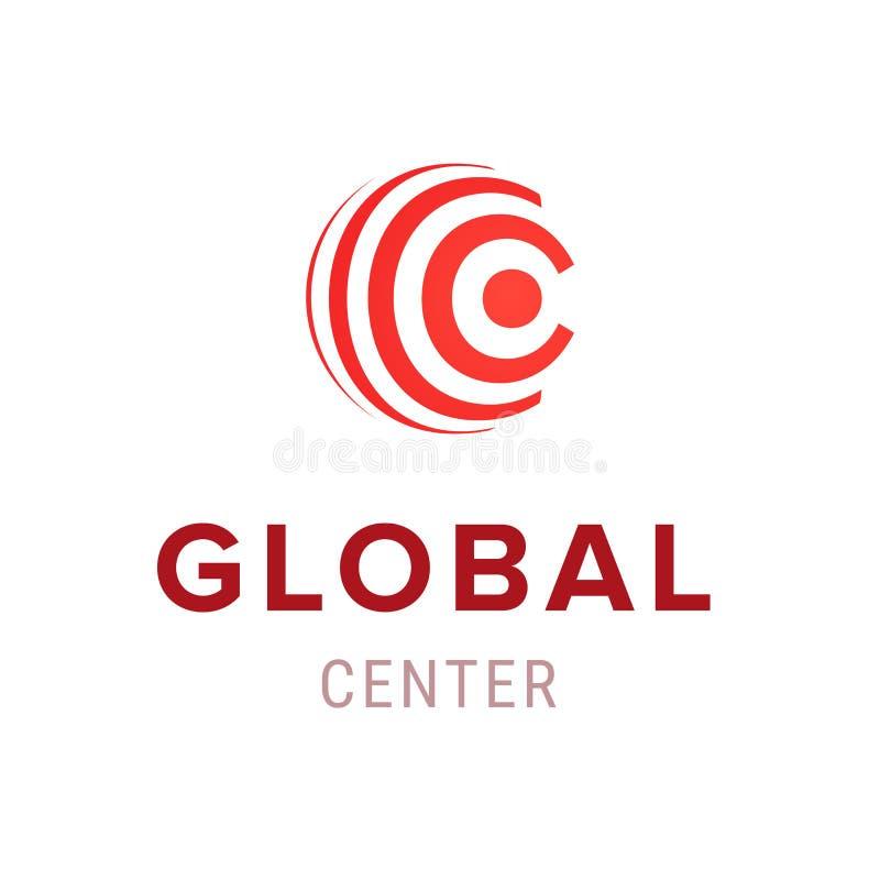 Het globale embleem van het centrum creatieve bedrijf Het moderne geïsoleerde symbool van het malplaatjepictogram Elementenontwer vector illustratie