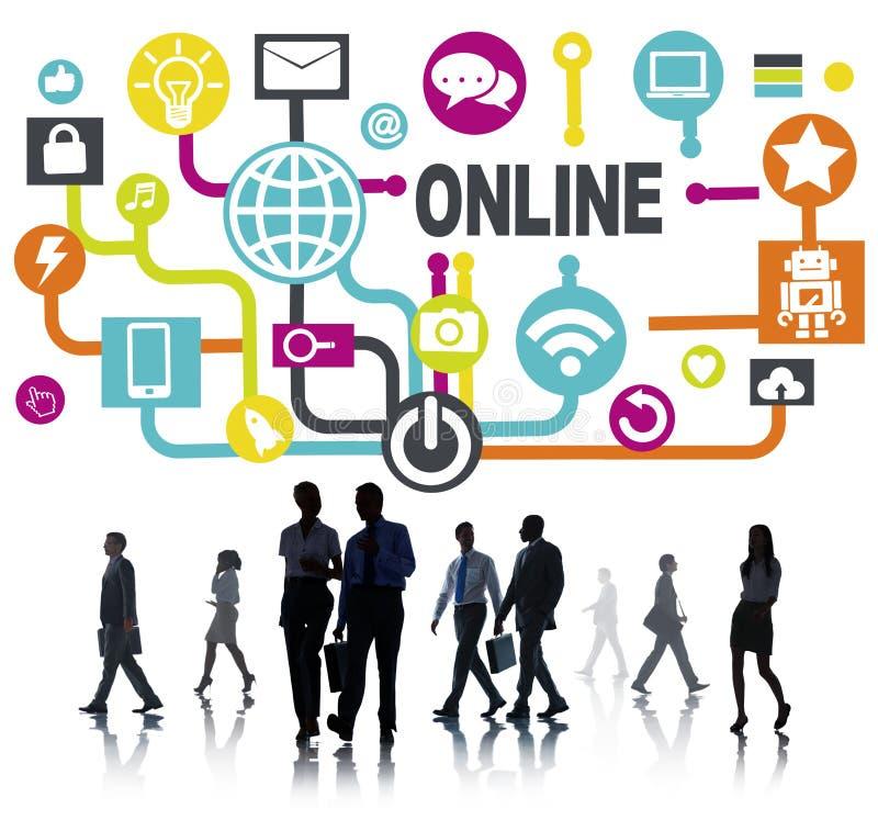 Het globale Online van de Communicatie Sociale Concept Voorzien van een netwerktechnologie stock fotografie
