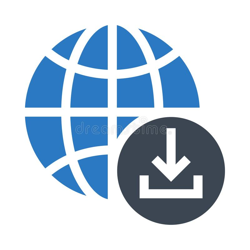 Het globale pictogram van de download glyphs dubbele kleur royalty-vrije illustratie