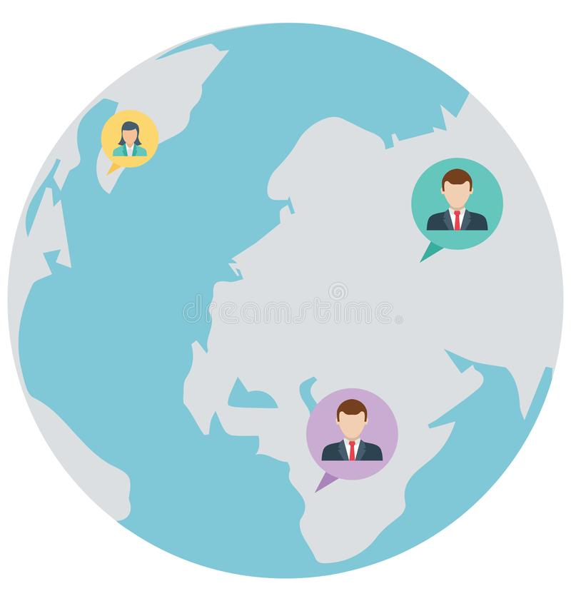 Het globale praatje, globaal Geïsoleerd gesprek dat kan gemakkelijk zijn geeft uit of wijzigde zich vector illustratie