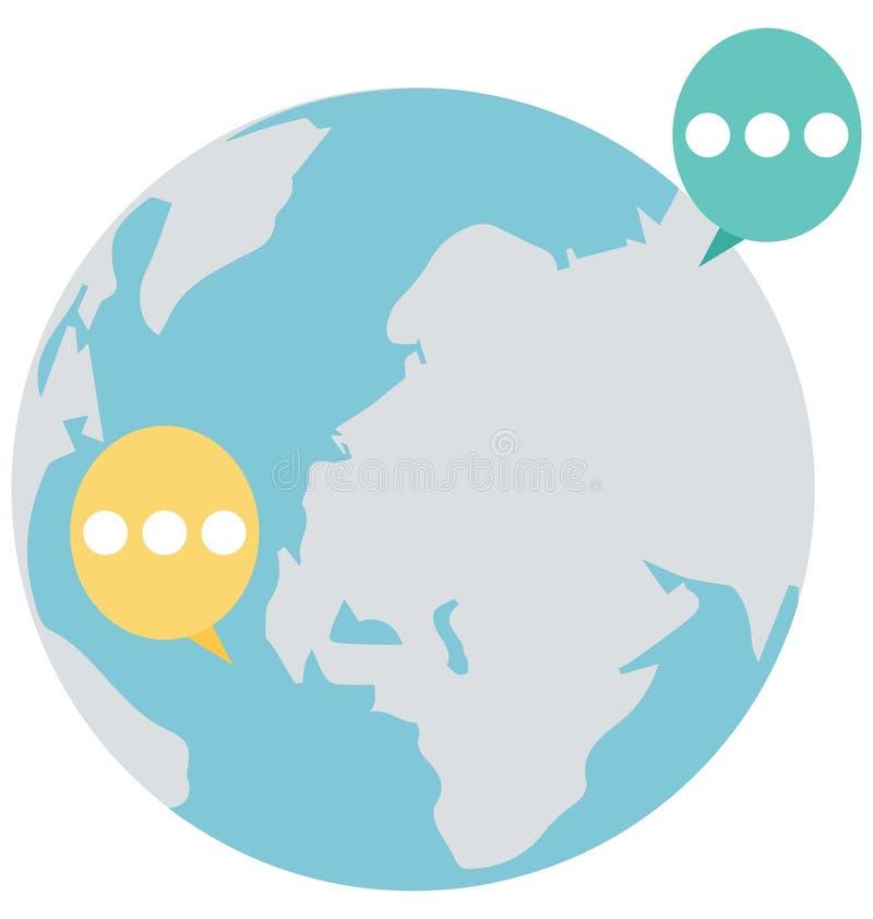Het globale praatje, globaal Geïsoleerd gesprek dat kan gemakkelijk zijn geeft uit of wijzigde zich stock illustratie