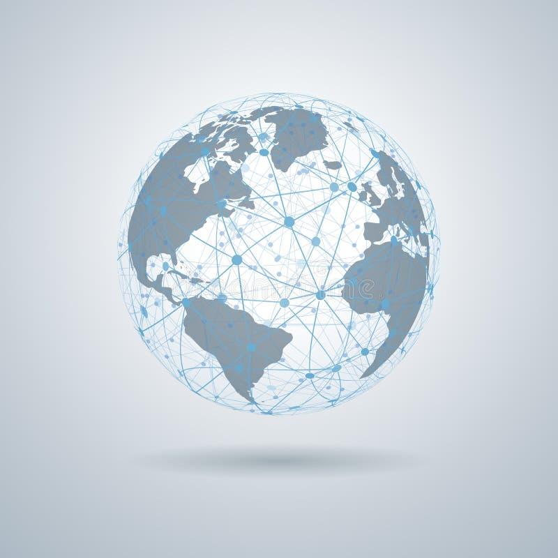 Het globale technologie-concept, Netwerkverbinding, 3D Bollen met Wereld brengt – vector in kaart stock foto's