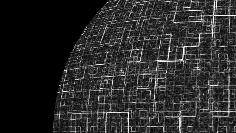 Het globale technologiegebied is in de ruimte, symbool van globale mededeling, 3d geef computer geproduceerde achtergrond terug vector illustratie