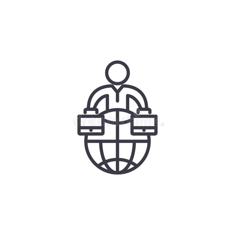 Het globale van het commerciële concept organisatie lineaire pictogram Het globale van de commerciële vectorteken organisatielijn stock illustratie