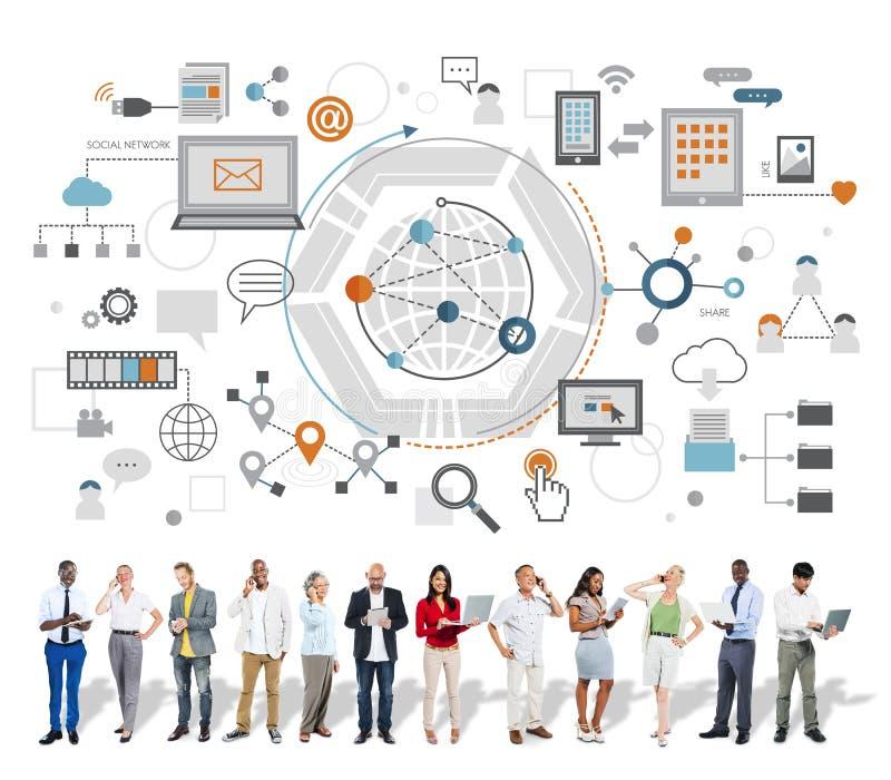 Het globale van de Communicatie Digitale Concept Apparateninformatie royalty-vrije stock afbeelding