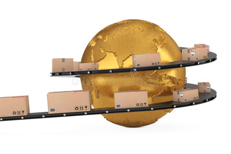 Het globale Verschepen en Logistisch Concept Gouden Aardebol Surrounde stock illustratie