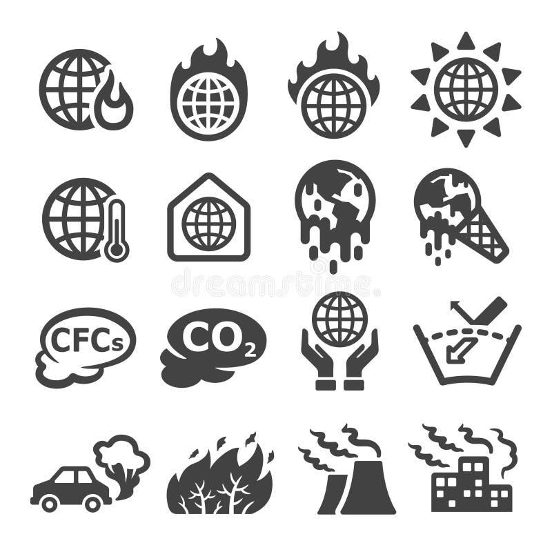 Het globale verwarmen, de reeks van het broeikaseffectpictogram royalty-vrije illustratie