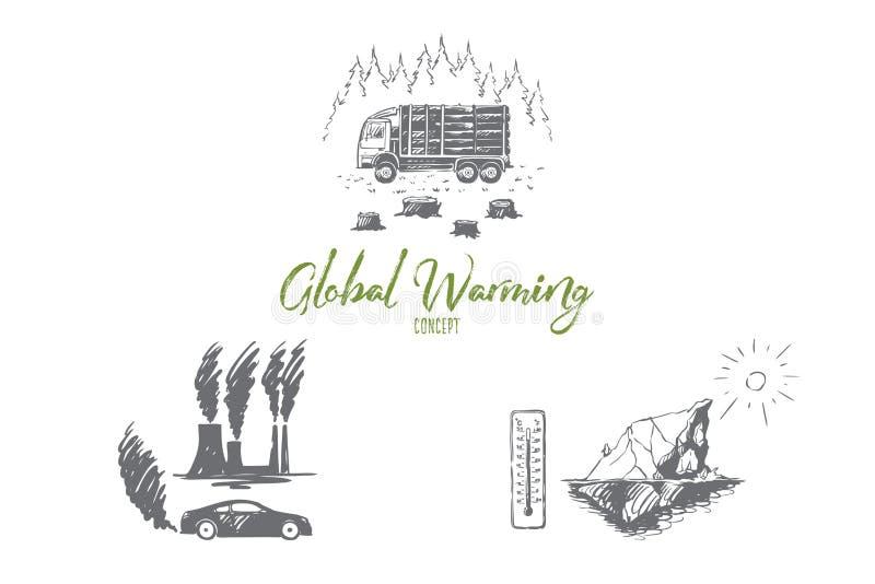 Het globale verwarmen - fabrieksverontreiniging, ijsberg het smelten, die reeks van het bomen de vectorconcept verminderen stock illustratie