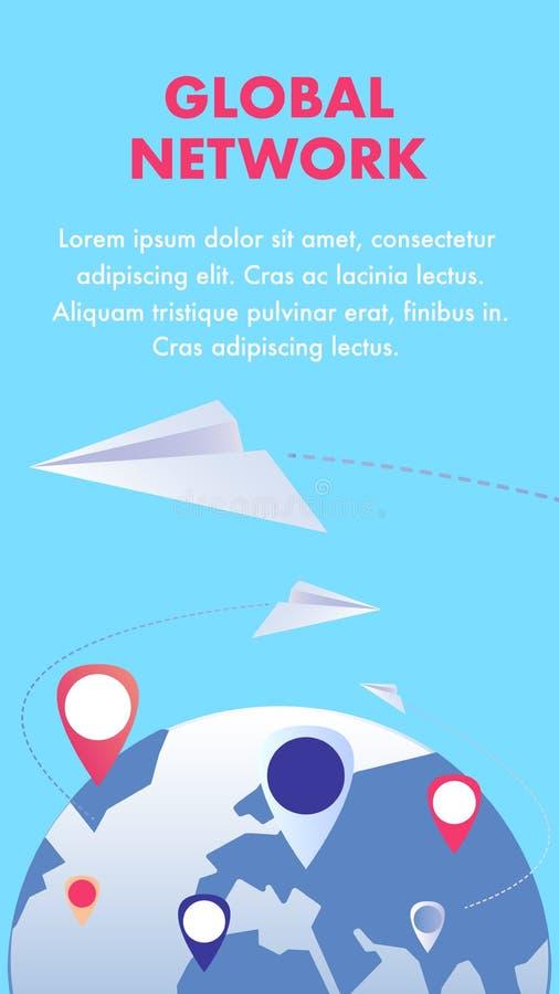 Het globale Vlakke Malplaatje van de Communicatienetwerkvlieger vector illustratie