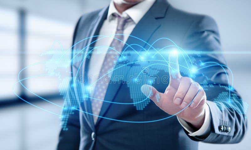 Het globale Wereld van Communicatie Concept Verbindings Bedrijfsnetwerkinternet Techology royalty-vrije stock afbeeldingen