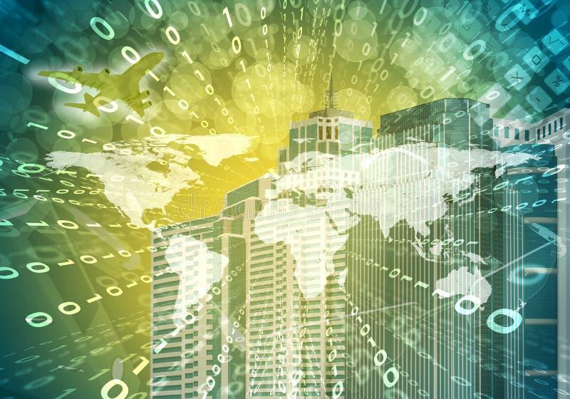 Het gloeien cijfers en wereldkaart Hoog - technologieachtergrond stock illustratie