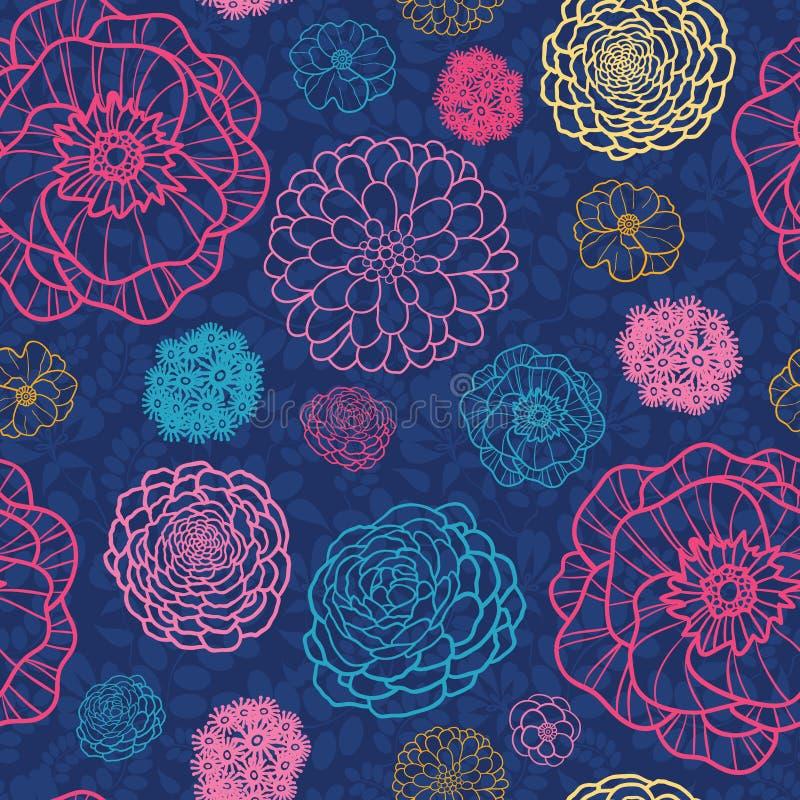 Het gloeien de nacht bloeit naadloze patroonachtergrond stock illustratie