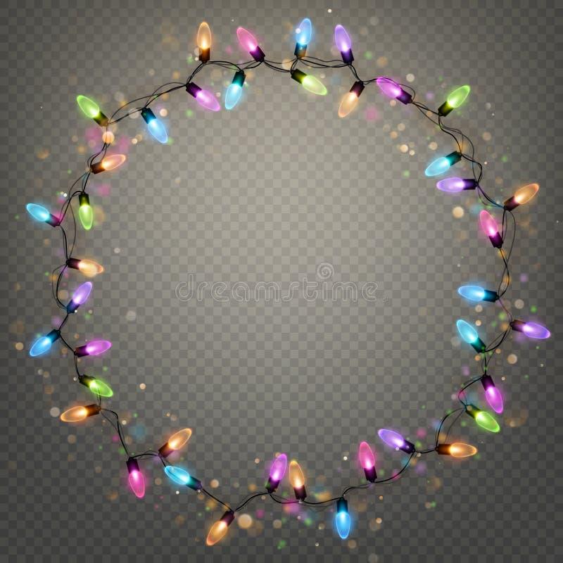 Het gloeien de de ringslichten van de Kerstmisslinger isoleerden realistisch glanzen lampenelement voor het ontwerp van de groetk royalty-vrije illustratie