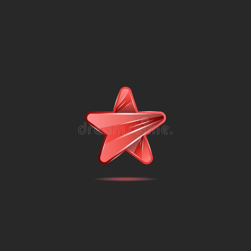 Het gloeien heldere de stervorm van het neon rode glas, creatief embleem voor pop toekenning van de partijmuziek royalty-vrije illustratie