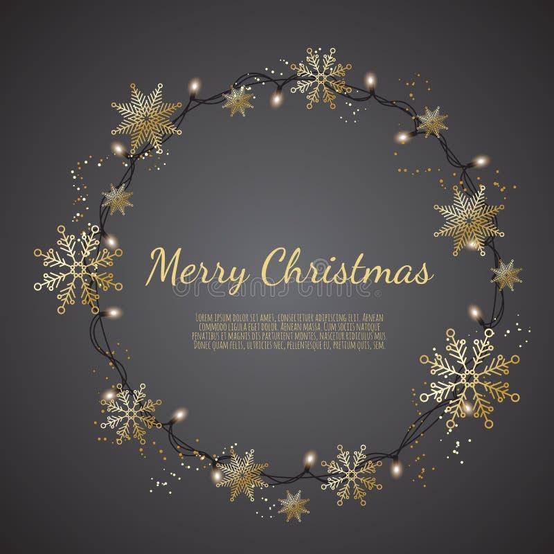 Het gloeien Kerstmis steekt Kroon voor de Groetkaarten van de Kerstmisvakantie aan stock illustratie