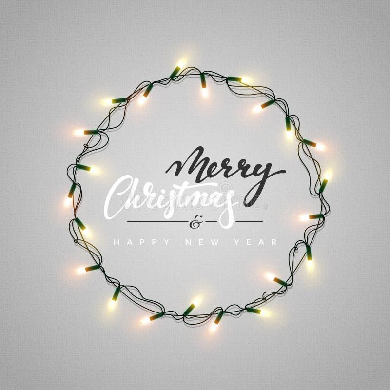 Het gloeien Kerstmis steekt Kroon voor het Ontwerp van de Groetkaarten van de Kerstmisvakantie aan stock illustratie