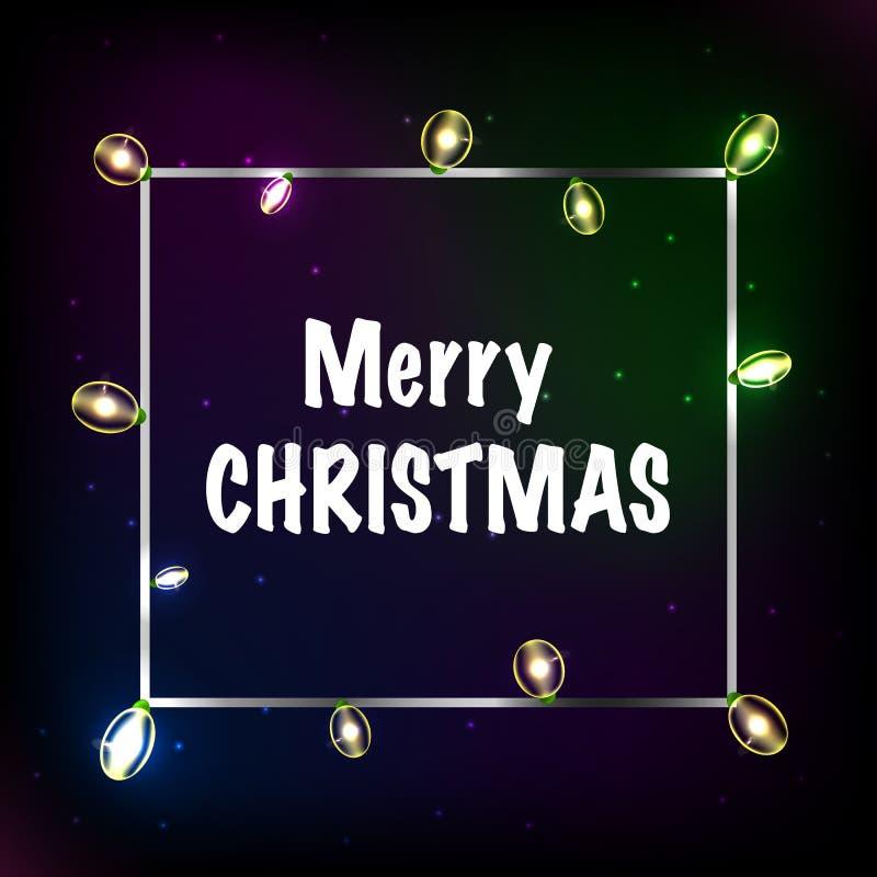Het gloeien Kerstmis steekt Kroon voor het Ontwerp van de Groetkaarten van de Kerstmisvakantie aan Vrolijk Kerstmis Van letters v stock illustratie